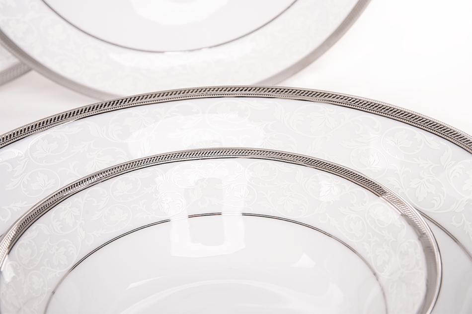 GEOS PLATIN Serwis obiadowy polska porcelana, sosjerka, waza 18 elementów biały / platynowy wzór dla 6 os. Platin - zdjęcie 5