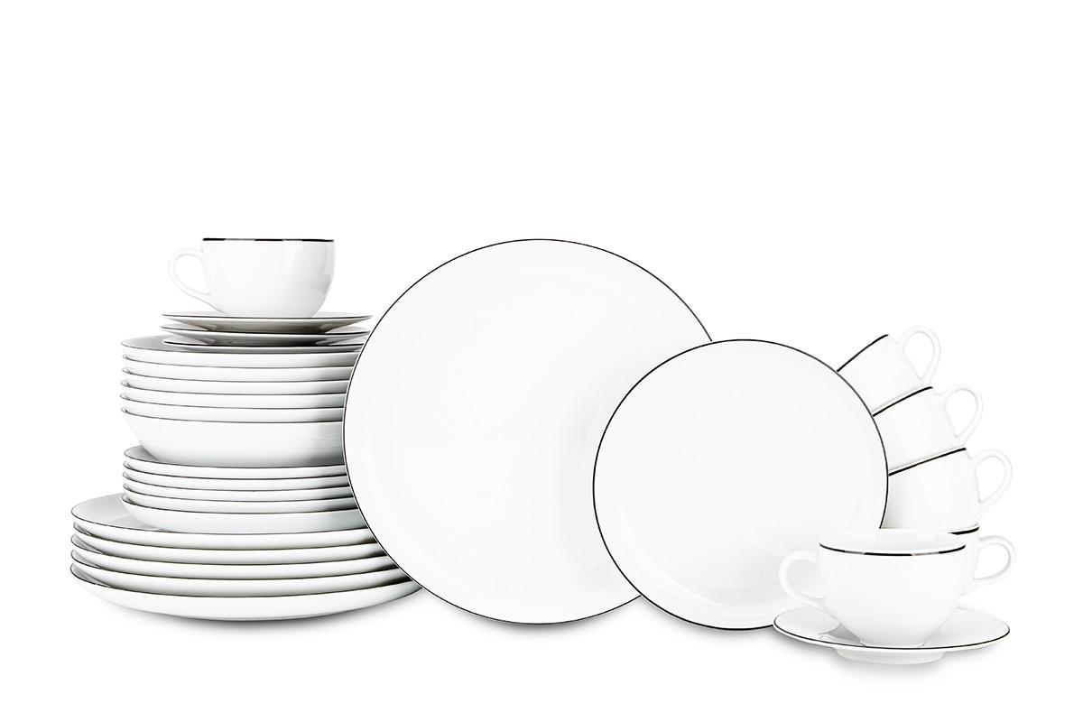 Serwis obiadowy polska porcelana 6 os. 30 elementów Biały / czarny rant
