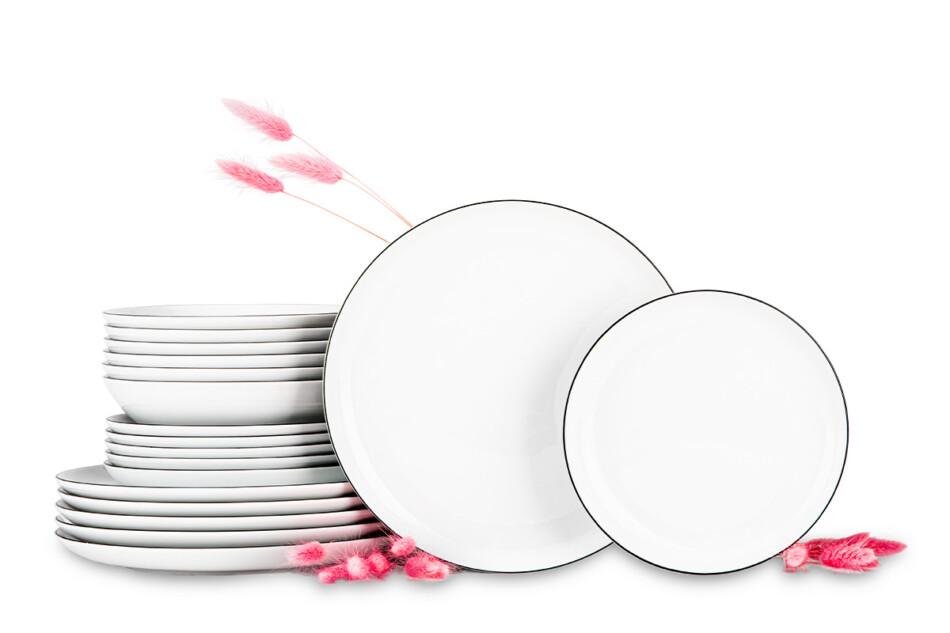 NORA CZARNY RANT Serwis obiadowy polska porcelana 6 os. Biały / czarny rant Czarny Rant - zdjęcie 0