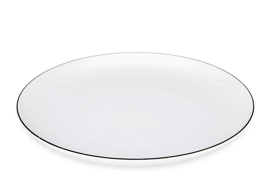 NORA CZARNY RANT Serwis obiadowy polska porcelana 6 os. Biały / czarny rant Czarny Rant - zdjęcie 3