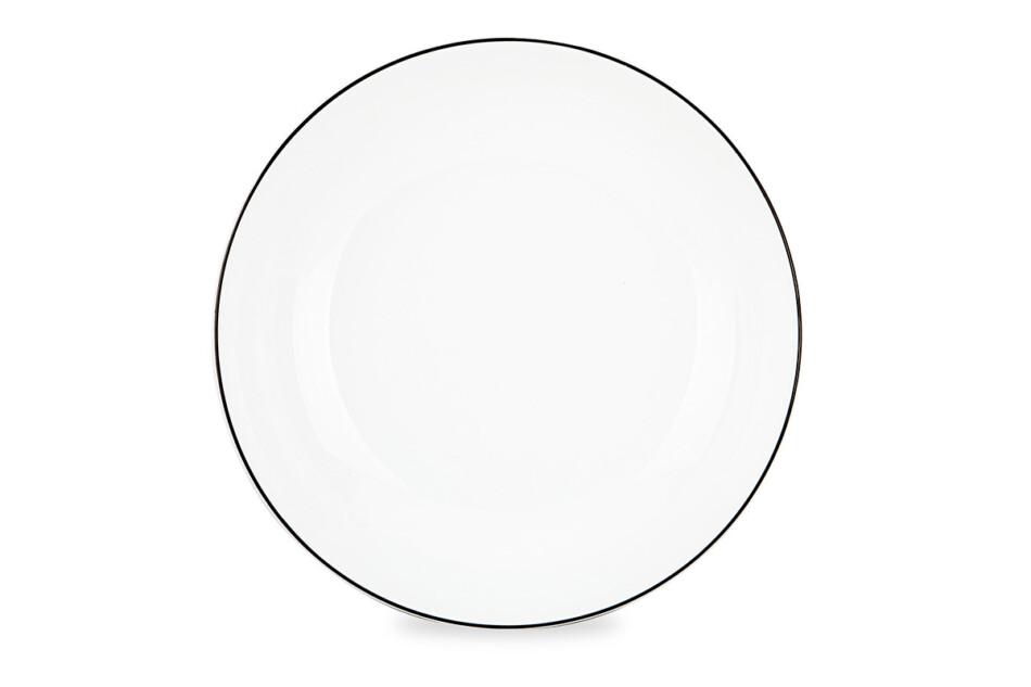 NORA CZARNY RANT Serwis obiadowy polska porcelana 6 os. Biały / czarny rant Czarny Rant - zdjęcie 4