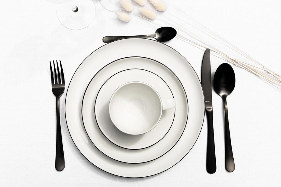 NORA CZARNY RANT Serwis obiadowy polska porcelana 6 os. Biały / czarny rant Czarny Rant - zdjęcie 7