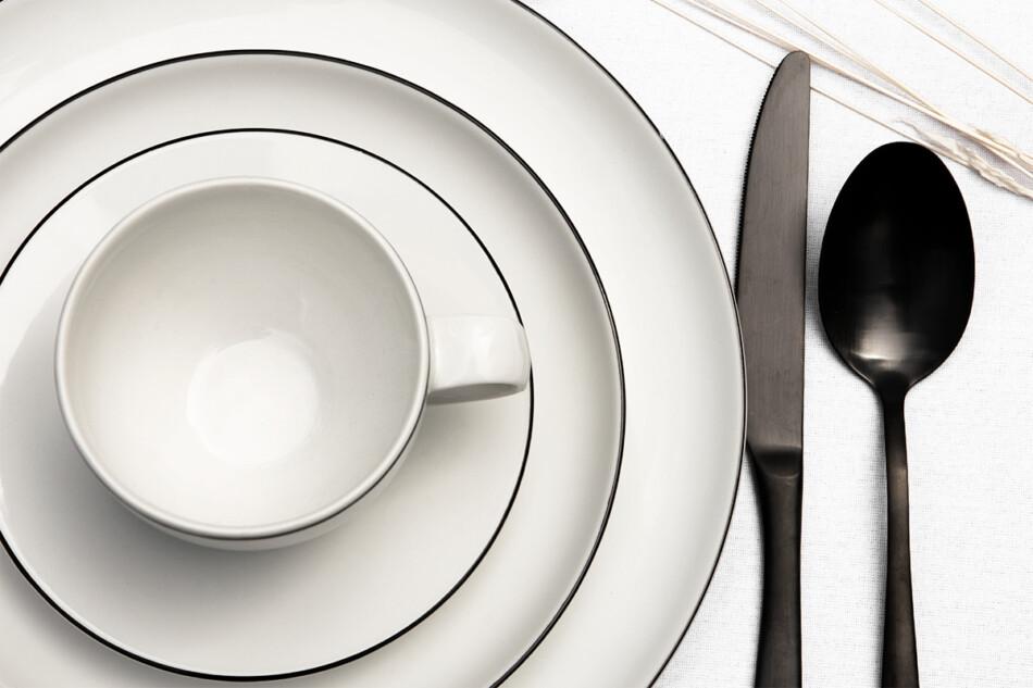 NORA CZARNY RANT Serwis obiadowy polska porcelana 6 os. Biały / czarny rant Czarny Rant - zdjęcie 6