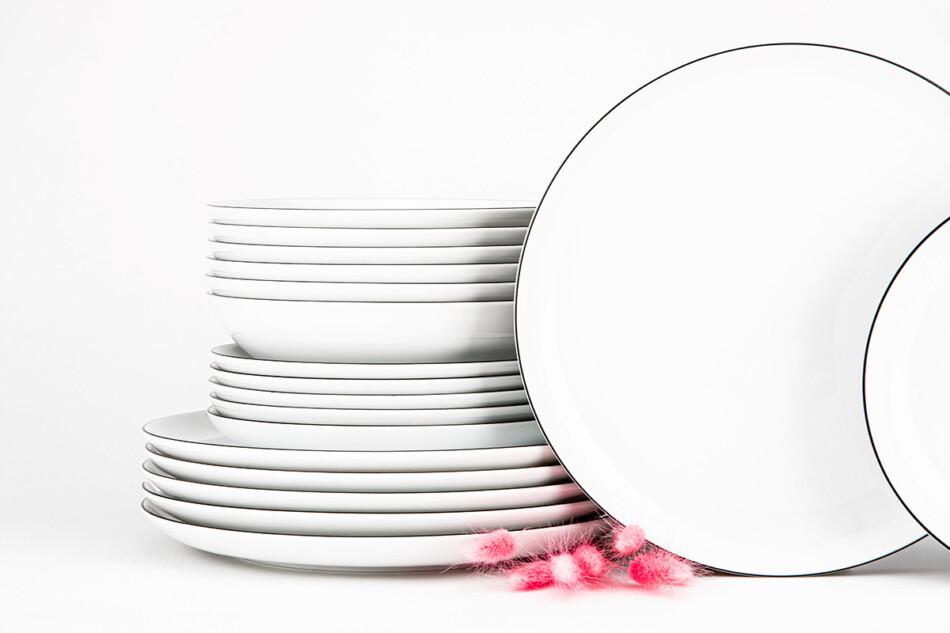 NORA CZARNY RANT Serwis obiadowy polska porcelana 6 os. Biały / czarny rant Czarny Rant - zdjęcie 1