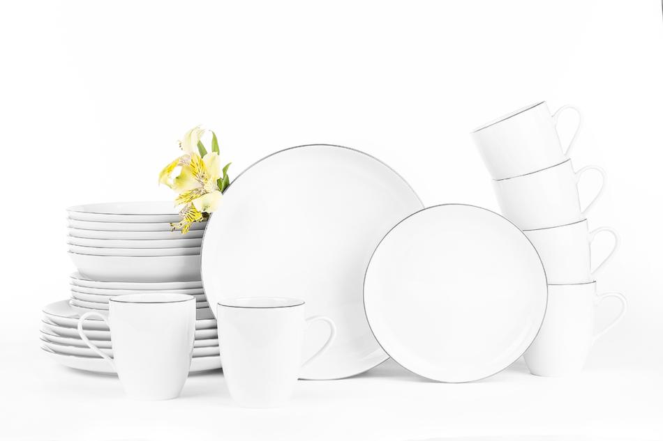 NORA PLATYNOWA LINIA Serwis obiadowy polska porcelana 6 os. 24 elementy Biały / platynowy rant Platynowa Linia - zdjęcie 0