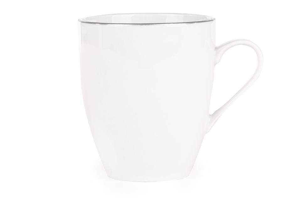 NORA PLATYNOWA LINIA Serwis obiadowy polska porcelana 6 os. 24 elementy Biały / platynowy rant Platynowa Linia - zdjęcie 3