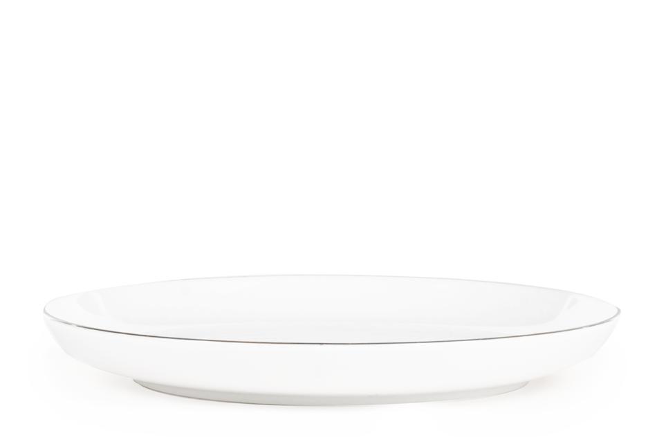 NORA PLATYNOWA LINIA Serwis obiadowy polska porcelana 6 os. 24 elementy Biały / platynowy rant Platynowa Linia - zdjęcie 2