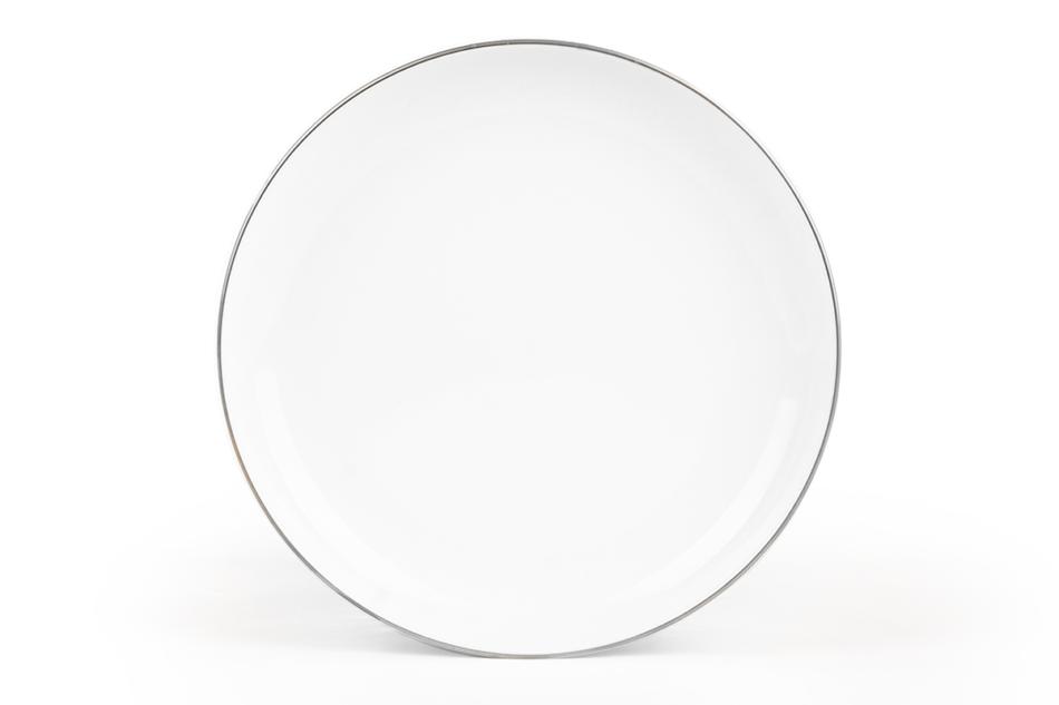 NORA PLATYNOWA LINIA Serwis obiadowy polska porcelana 6 os. 24 elementy Biały / platynowy rant Platynowa Linia - zdjęcie 1