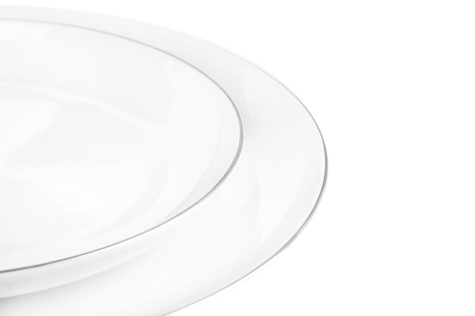 NORA PLATYNOWA LINIA Serwis obiadowy polska porcelana 6 os. 24 elementy Biały / platynowy rant Platynowa Linia - zdjęcie 4