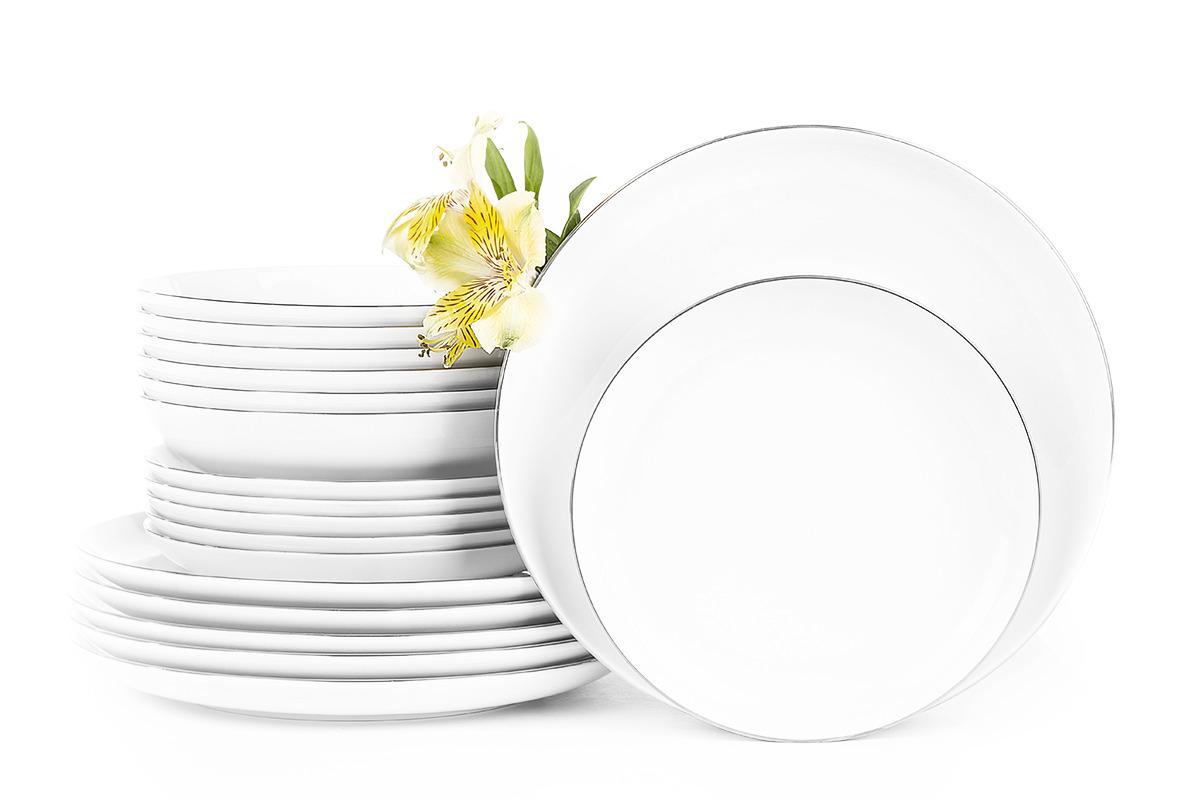 Serwis obiadowy polska porcelana 6 os. Biały / platynowy rant