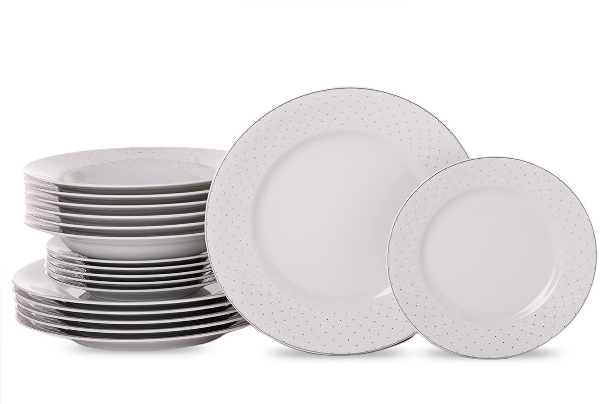 Zestaw obiadowy porcelana 18 elementów biały wzór dla 6 os.