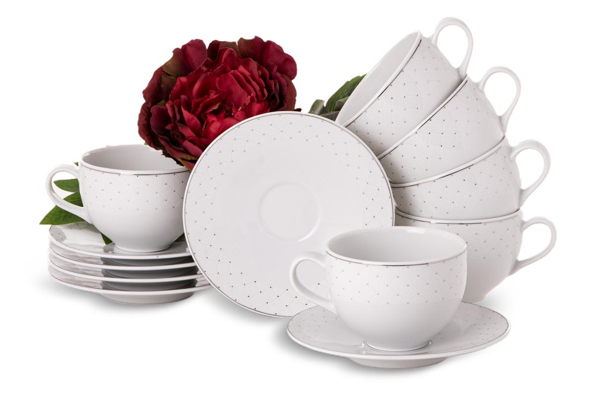 Zestaw kawowy porcelana 12 elementów biały wzór dla 6 os.