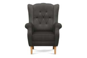 NIROS, https://konsimo.pl/kolekcja/niros/ Elegancki fotel uszak na drewnianych nóżkach szary ciemny szary - zdjęcie