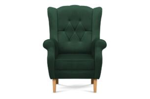 NIROS, https://konsimo.pl/kolekcja/niros/ Elegancki fotel uszak na drewnianych nóżkach butelkowa zieleń ciemny zielony - zdjęcie