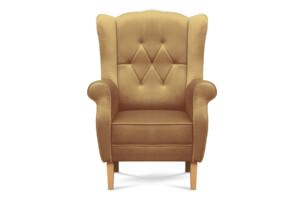 NIROS, https://konsimo.pl/kolekcja/niros/ Elegancki fotel uszak na drewnianych nóżkach beżowy beżowy - zdjęcie