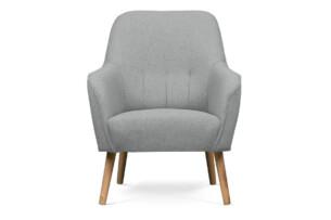 CUBOS, https://konsimo.pl/kolekcja/cubos/ Prosty fotel na drewnianych nóżkach pastelowy szary szary - zdjęcie