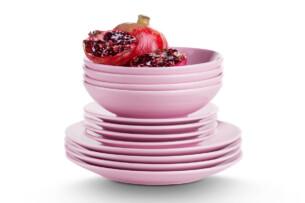 LUPIN, https://konsimo.pl/kolekcja/lupin/ Zestaw obiadowy dla 4 osób różowy różowy - zdjęcie