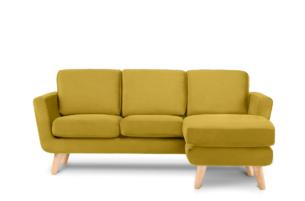 TAGIO, https://konsimo.pl/kolekcja/tagio/ Żółty skandynawski narożnik z pufą / otomaną prawy żółty - zdjęcie