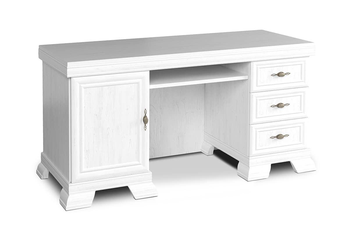 Duże biurko z szufladami białe