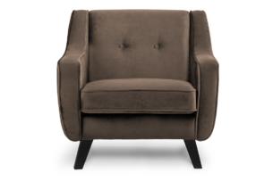 TERSO, https://konsimo.pl/kolekcja/terso/ Skandynawski fotel welurowy brązowy brązowy - zdjęcie