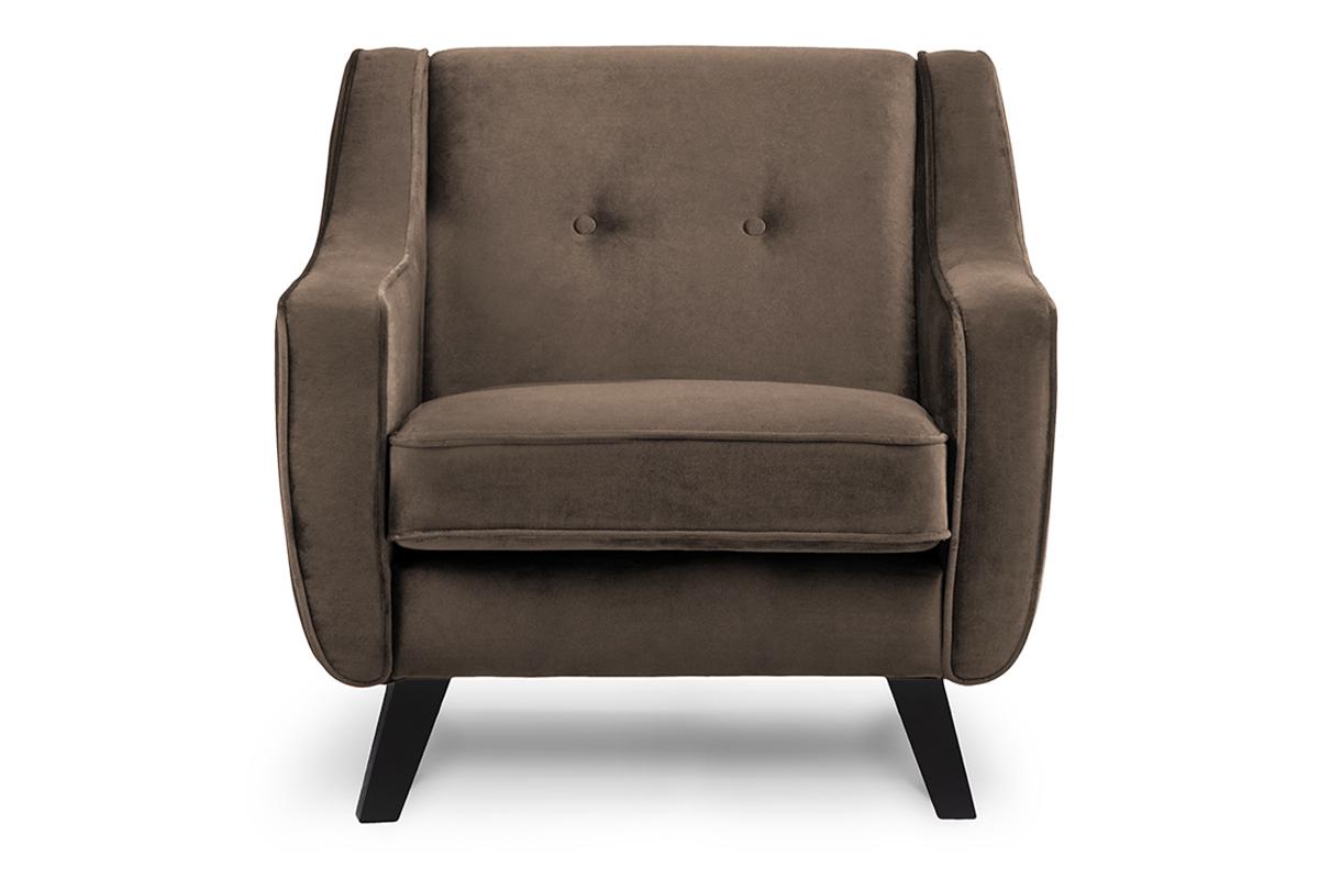 Skandynawski fotel welurowy brązowy