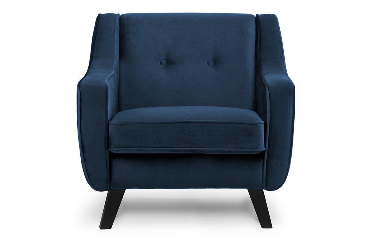 Skandynawski fotel welurowy granatowy