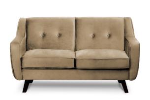 TERSO, https://konsimo.pl/kolekcja/terso/ Skandynawska sofa 2 osobowa welur beżowa ciemny beżowy - zdjęcie