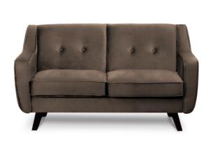 TERSO, https://konsimo.pl/kolekcja/terso/ Skandynawska sofa 2 osobowa welur brązowa brązowy - zdjęcie