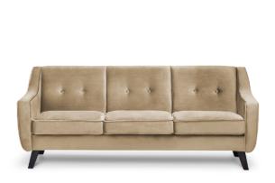 TERSO, https://konsimo.pl/kolekcja/terso/ Skandynawska sofa 3 osobowa welur beżowa ciemny beżowy - zdjęcie