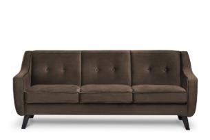 TERSO, https://konsimo.pl/kolekcja/terso/ Skandynawska sofa 3 osobowa welur brązowa brązowy - zdjęcie