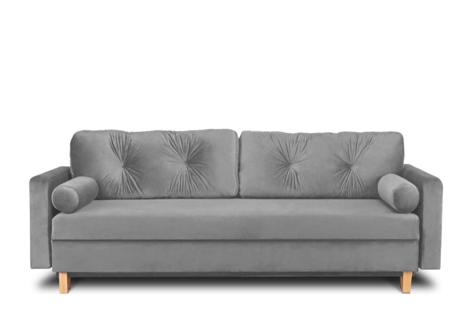 ERISO Szara sofa welurowa 3 osobowa rozkładana szary - zdjęcie 0