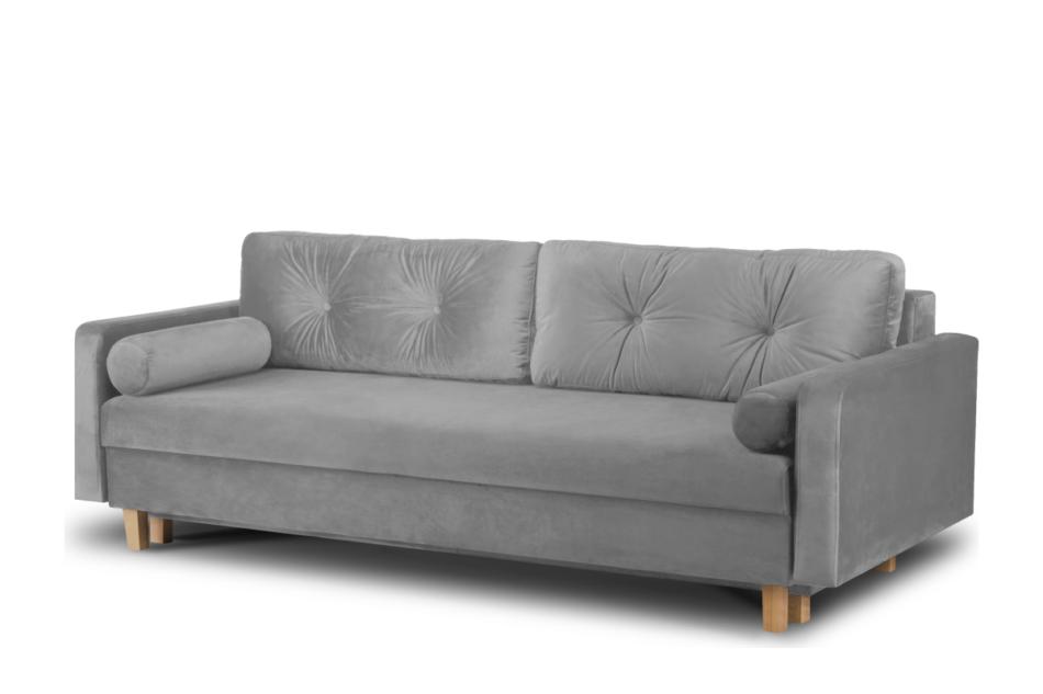 ERISO Szara sofa welurowa 3 osobowa rozkładana szary - zdjęcie 1
