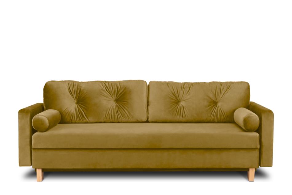 ERISO Żółta welurowa sofa 3 osobowa rozkładana miodowy - zdjęcie 0