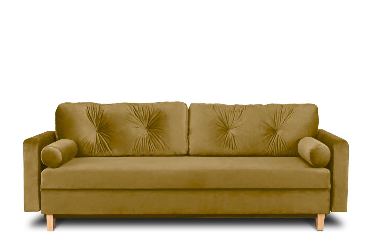 Żółta welurowa sofa 3 osobowa rozkładana
