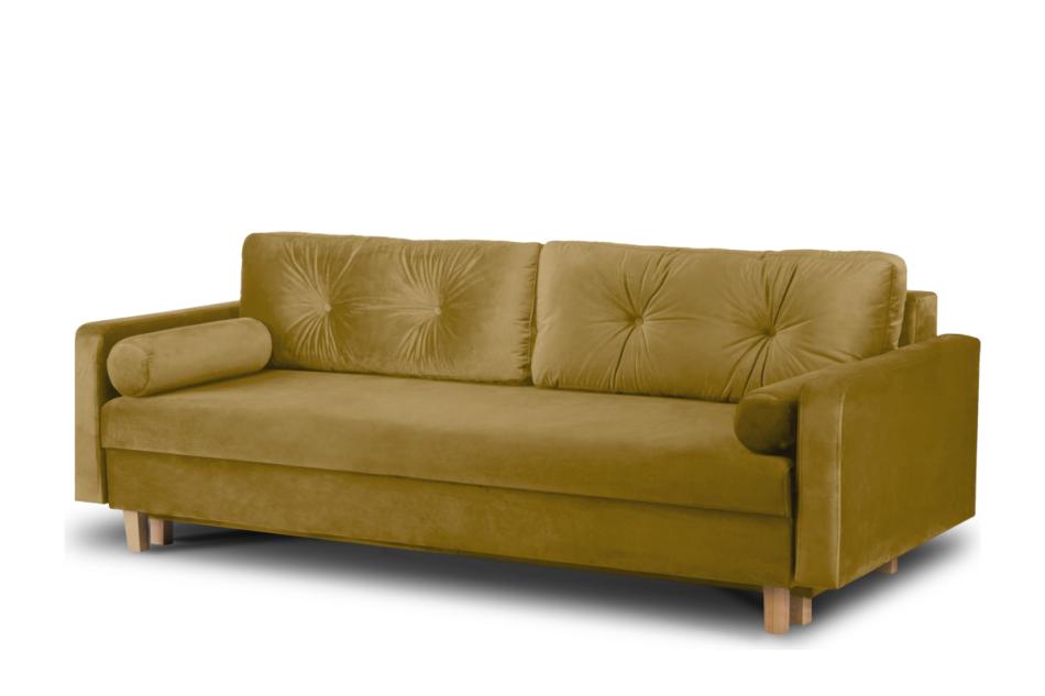 ERISO Żółta welurowa sofa 3 osobowa rozkładana miodowy - zdjęcie 1