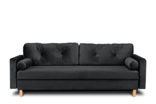 ERISO, https://konsimo.pl/kolekcja/eriso/ Ciemnoszara welurowa sofa 3 osobowa rozkładana grafitowy - zdjęcie