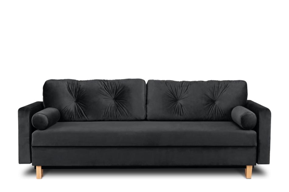 ERISO Ciemnoszara welurowa sofa 3 osobowa rozkładana grafitowy - zdjęcie 0
