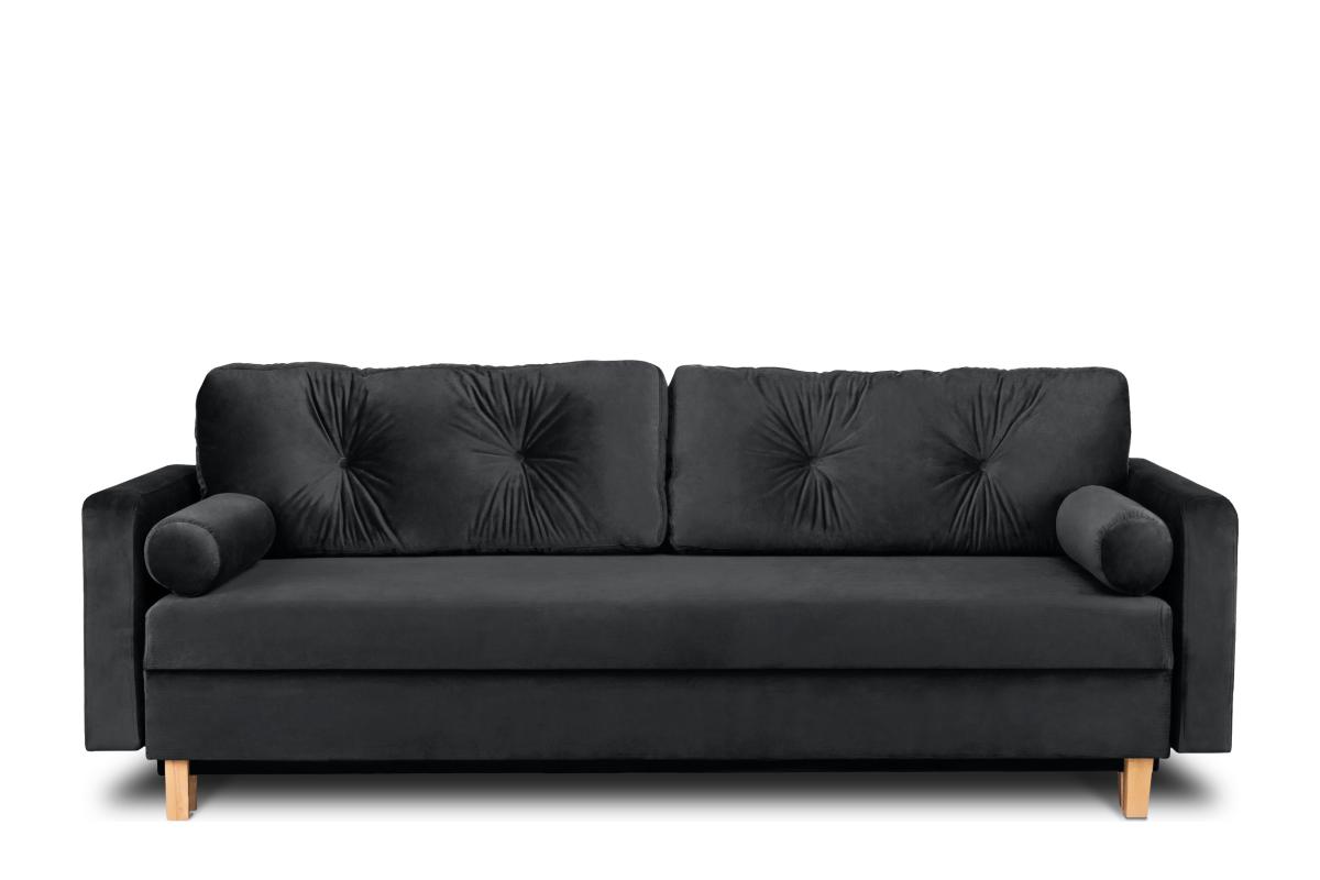 Ciemnoszara welurowa sofa 3 osobowa rozkładana