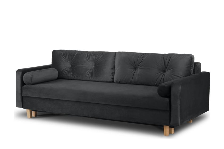ERISO Ciemnoszara welurowa sofa 3 osobowa rozkładana grafitowy - zdjęcie 1