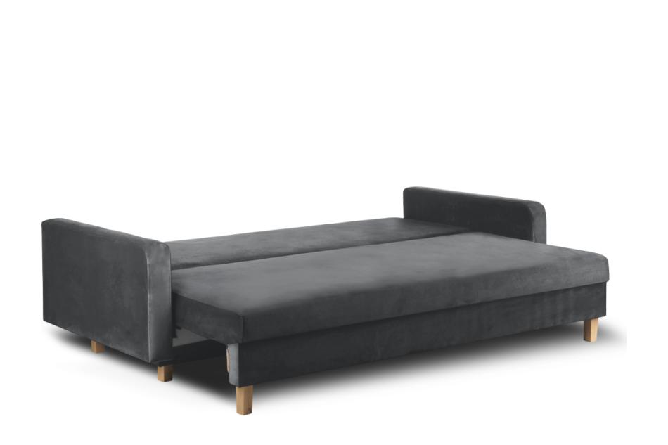 ERISO Ciemnoszara welurowa sofa 3 osobowa rozkładana grafitowy - zdjęcie 3
