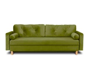 ERISO, https://konsimo.pl/kolekcja/eriso/ Zielona welurowa sofa 3 osobowa rozkładana oliwkowy - zdjęcie