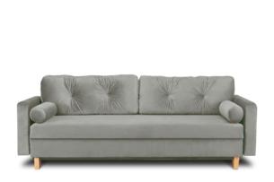 ERISO, https://konsimo.pl/kolekcja/eriso/ Szara welurowa sofa 3 osobowa rozkładana popielaty - zdjęcie