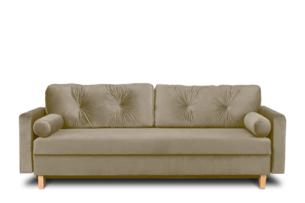ERISO, https://konsimo.pl/kolekcja/eriso/ Beżowa welurowa sofa 3 osobowa rozkładana ciemny beżowy - zdjęcie