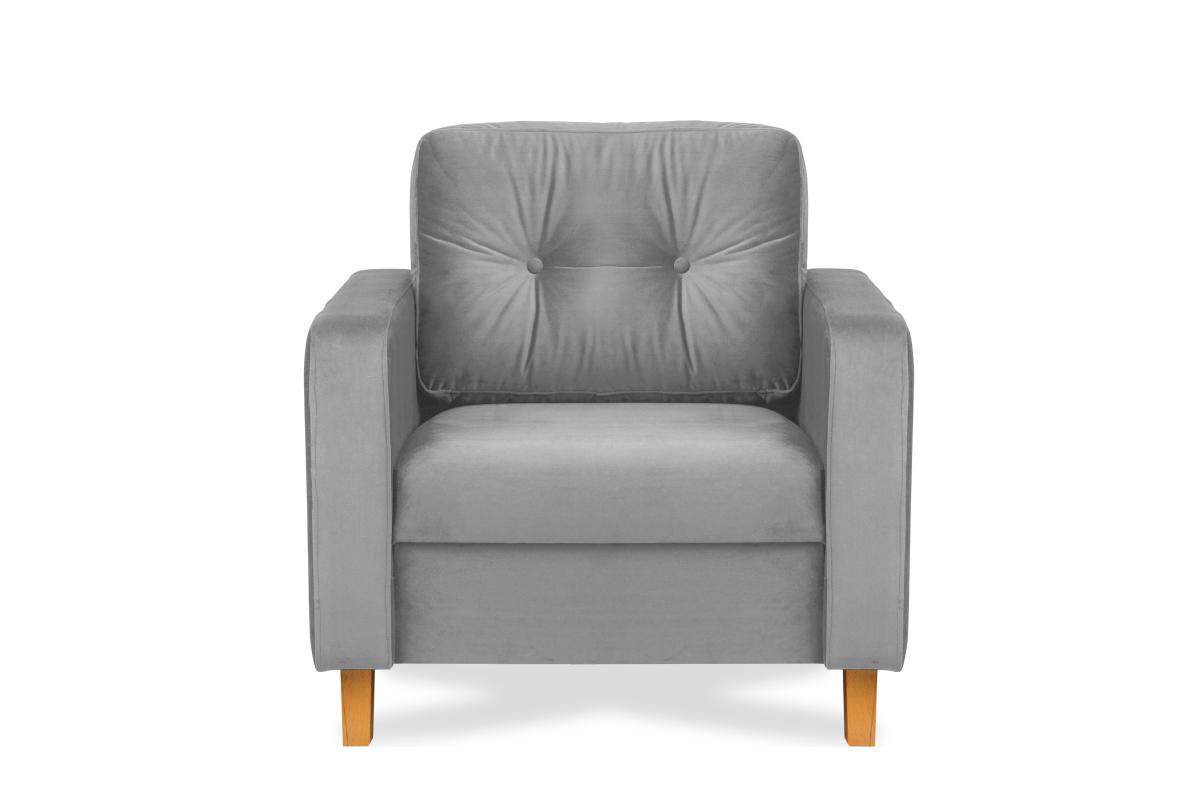 Welurowy szary fotel do salonu