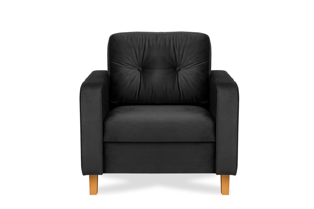 Ciemnoszary welurowy fotel do salonu