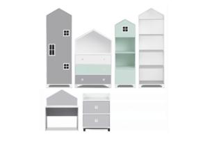 MIRUM, https://konsimo.pl/kolekcja/mirum/ Zestaw meble domki dla chłopca szare 6 elementów biały/ciemny miętowy/szary - zdjęcie