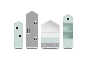 MIRUM, https://konsimo.pl/kolekcja/mirum/ Zestaw meble domki dla chłopca szare 4 elementy biały/ciemny miętowy/szary - zdjęcie