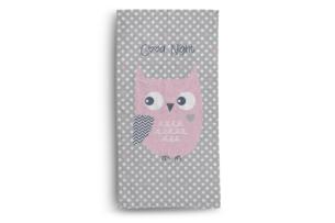 DIMUS, https://konsimo.pl/kolekcja/dimus/ Ręcznik sowa szary/różowy - zdjęcie