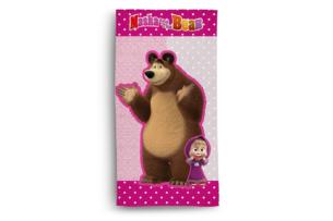 FABULIO, https://konsimo.pl/kolekcja/fabulio/ Ręcznik Masha and the Bear różowy/brązowy - zdjęcie