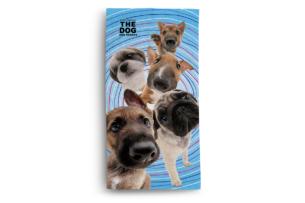 FABULIO, https://konsimo.pl/kolekcja/fabulio/ Ręcznik the Dog 5 psów niebieski/brązowy - zdjęcie